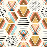 Watercolor hexagon seamless pattern with geometric ornamental elements - 143912418