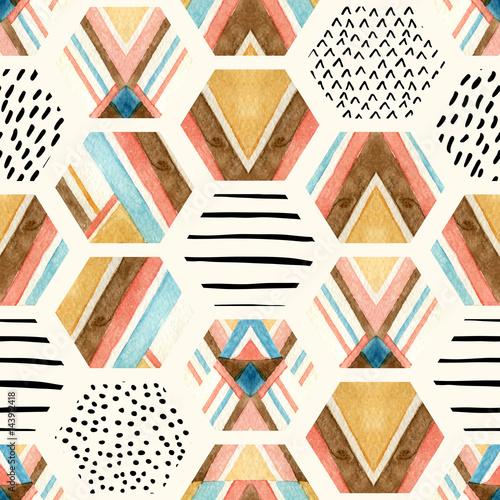 Photo sur Toile Empreintes Graphiques Watercolor hexagon seamless pattern with geometric ornamental elements