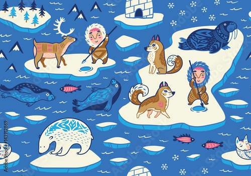 Cotton fabric North Pole seamless pattern with wild animals, eskimos and yurt