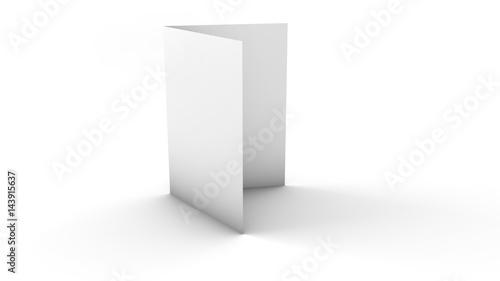 Fotografía  leere blanko A4 oder A5 Broschüre mit 4 Seiten vor weißem Hintergrund
