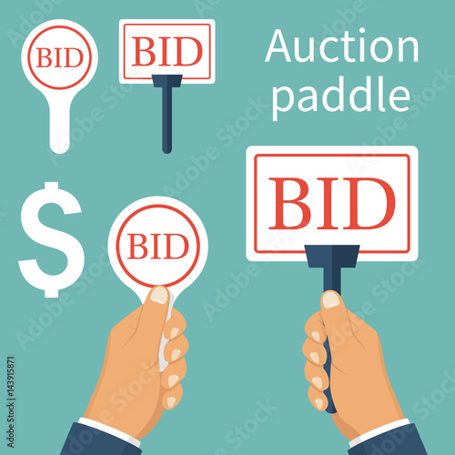 Auction Paddle Isolated And Holding In Hand A Set Of Tablets Business Bidding Process