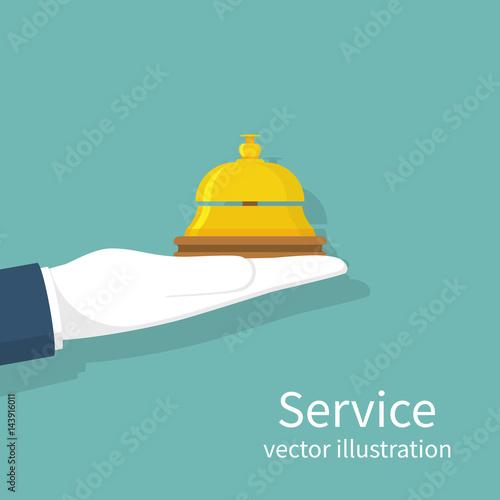 Fototapeta Hand holding service bell