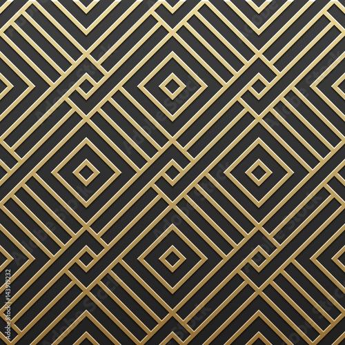 Photo  Golden metallic background with geometric pattern