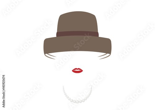 Fotografiet portrait retrò woman, diva with hat and pearls, minimal Audrey vector illustrati