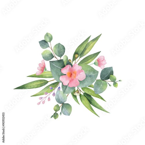 Plissee mit Motiv - Watercolor bouquet with green eucalyptus leaves and branches. (von elenamedvedeva)