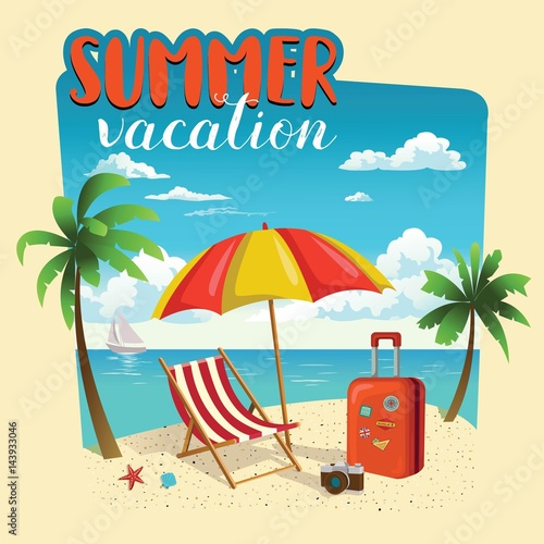 Summer Vacation Template Poster Party Fun Travel Background Design Vector