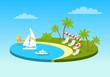 Tropical Beach On Sunny Ocean Shore Circle Concept