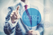 canvas print picture - Future of financial technology concept businessman selecting fintech word