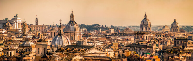 Fototapeta Rzym Skyline of Rome, Italy. Rome architecture and landmark, cityscape. Rome postcard