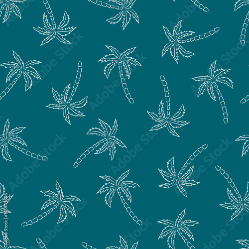 mata magnetyczna Palm trees silhouette blue print. Vector seamless pattern with tropical plants.