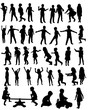 Vector illustration of a collection of silhouettes of happy children running jumping