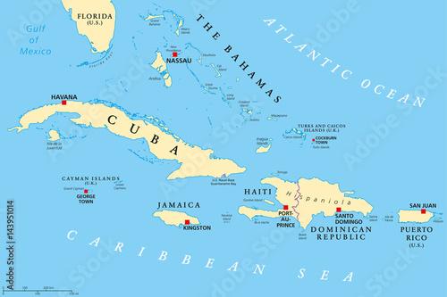 Political Map Of Florida.Greater Antilles Political Map Caribbean Islands Cuba Jamaica