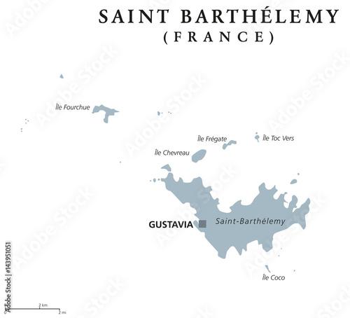 Fotografie, Obraz  Saint Barthelemy political map with capital Gustavia