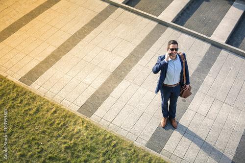 Garden Poster Fantasy Landscape Business man on a calling