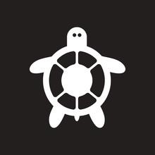 White Vector Icon On Black Background Sea Turtle