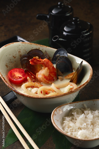 Fotografie, Obraz  Coconut soup with seafood