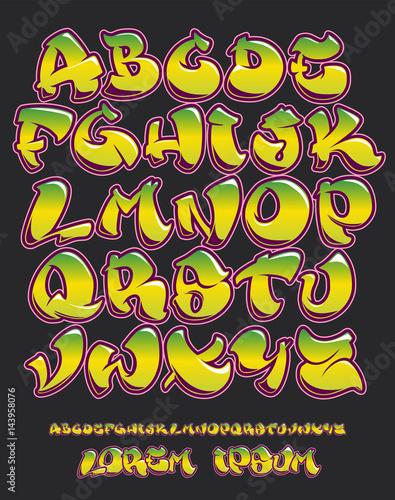 Foto op Aluminium Graffiti Graffiti alphabet- Hand written - Vector font