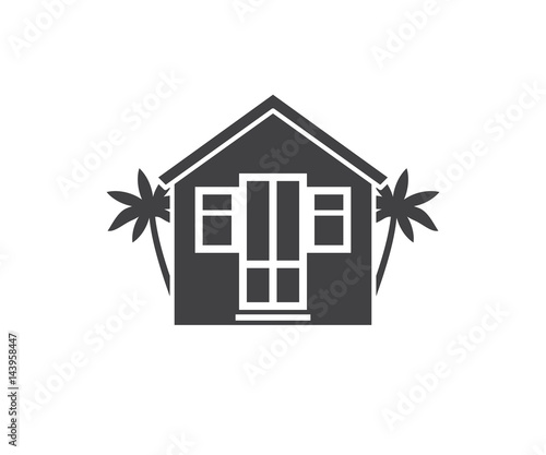 Summer bungalow icon outline design beach stock vector (royalty.