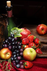 Fototapeta Owoce Juicy bright fruit, sprinkled with water, still life of seasonal fruits and berries, copyspace, Classic Dutch still life