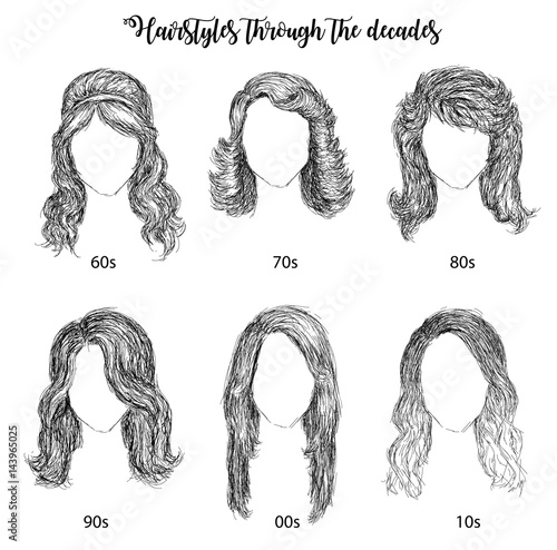 Hairstyles by decades from 60s to 10s vector illustration Canvas-taulu