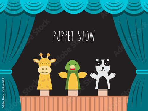 Fotomural Childrens performance in the puppet theater at the theater with price, curtain and scenery