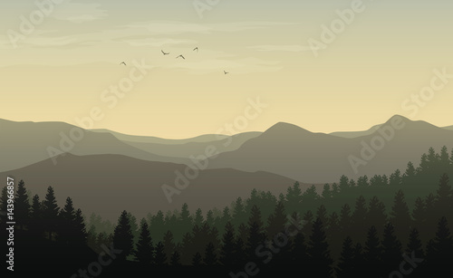 Morning landscape with misty silhouettes of mountains and hills, forest with coniferous trees and flying bird in the yellow toned sky