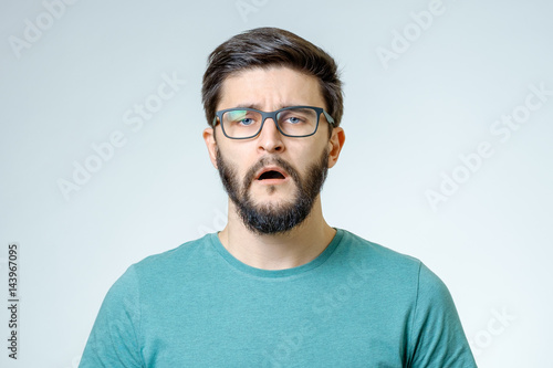 Fototapety, obrazy: Portrait of young man with sad face expression