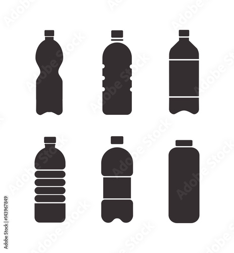 Fotografia, Obraz  Set of black vector bottle icons isolated on white background