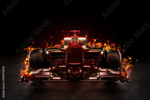 Photo sur Toile Motorise Hot team motor sports racing car with studio lighting and fire effect. 3d rendering illustration