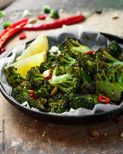 Photo  Roasted broccoli with peanuts and chili