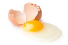 A Broken Chicken Egg Lies On A...