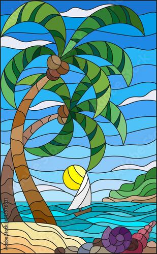 ilustracja-w-stylu-witrazu-z-tropikalne-morze-krajobraz-palmy-kokosowe