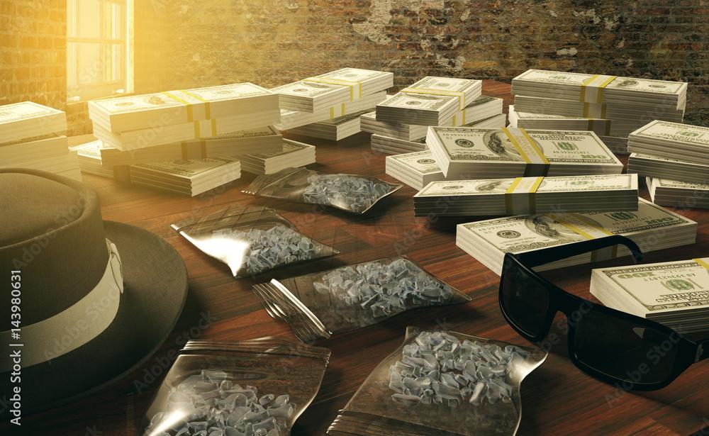 Fotografie, Obraz Illegal business drugs and dollars, Mafia drug dealer, 3D rendering