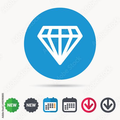 Diamond icon  Jewelry gem symbol  Brilliant jewel sign