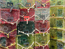Crab Pots Stacked  At The Dock