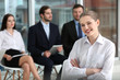 Job interview concept. Woman and people on background