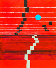Obraz na Szkle Do sypialni An abstract painting; receding stripes on a red background, with floating blue circle.