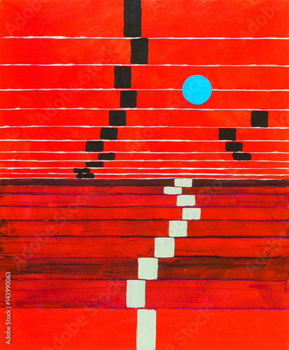 Fotografia, Obraz  An abstract painting; receding stripes on a red background, with floating blue circle
