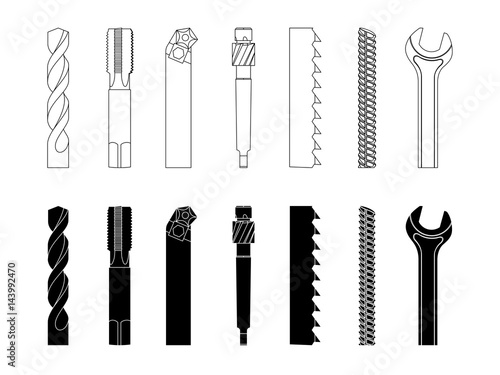 Photo Drill bit screw-cutter milling cutter saw armature wrench vector illustration se