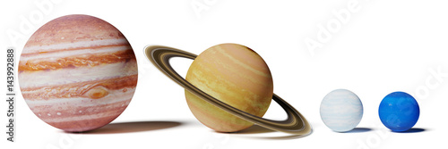 gas planets of the solar system, Jupiter, Saturn, Uranus and Neptune size comparison isolated on white background