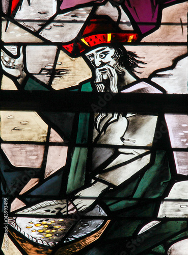 Fotografie, Tablou  Stained Glass - Man counting Money