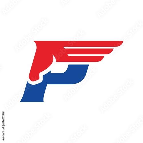 Fotografia letter P and pegasus logo vector. horse logo.