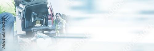 Fotografía  Composite image of blurred new york street