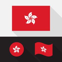 Set Of Hong Kong Flag Flat Design Vector Illustration