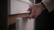 kitchen cabinet, woman close cupboard door, closer in bathroom