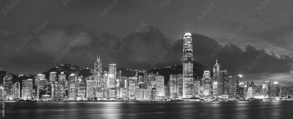 Fototapeta Panorama of Victoria Harbor in Hong Kong at night