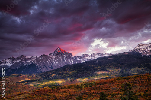 Printed kitchen splashbacks Eggplant Dramatic sunset over the Dallas Divide at Colorado's San Juan Mountains