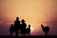 Peruvian People At Sunset