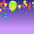 Abstract colored background with balloons, garlands of colored flags, streamers and confetti. Holiday greeting card for Christmas, new year, birthday or anniversary. Template for your inspiration