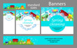 Cleaning service. Set spring banners for the website. Templates standard size. Vector